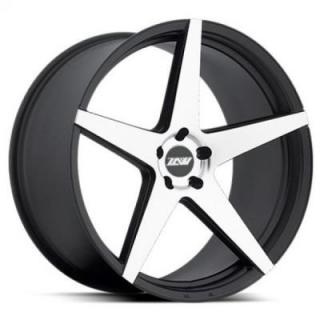 SPECIAL BUY WHEELS  ZOOM CHOCK P59 BLACK RIM with MACHINED FACE PPT STAGGERED DISPLAY SET 1 SET ONLY