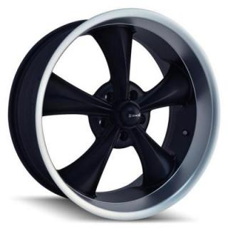 RIDLER WHEELS  STYLE 695 BLACK RIM with MACHINED LIP