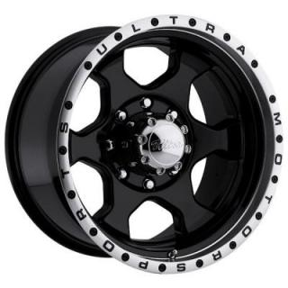 ULTRA WHEELS  ROGUE 175 BLACK RIM with DIAMOND CUT LIP 8 LUG