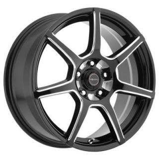 FOCAL WHEELS  F007 422 GLOSS BLACK RIM with MILLED ACCENTS