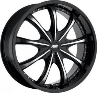 SPECIAL BUY WHEELS  AVENUE A605 GLOSS BLACK RIM with MACHINED FACE PPT DISPLAY SET 1 SET ONLY