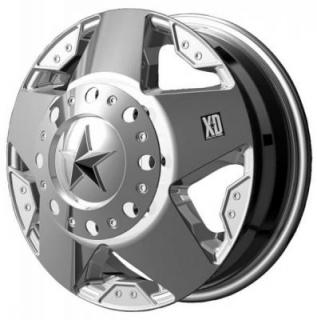 SPECIAL BUY WHEELS  XD SERIES XD775 DUALLY ROCKSTAR CHROME FRONT AND REAR RIM DISPLAY SET 1 SET ONLY