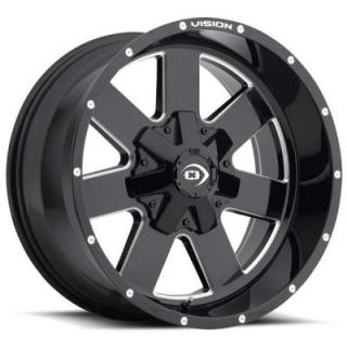 VISION WHEELS  ARC 411 GLOSS BLACK RIM with MILLED SPOKES