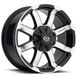 VISION WHEELS  VALOR 413 GLOSS BLACK RIM with MACHINED FACE