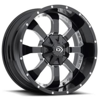 VISION WHEELS  LOCKER 420 GLOSS BLACK RIM with MILLED SPOKES