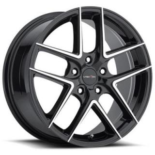 VISION WHEELS  MANTIS 467 GLOSS BLACK RIM with MACHINED FACE