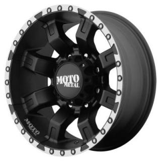 MOTO METAL WHEELS  MO968 SATIN BLACK RIM with MACHINED FLANGE