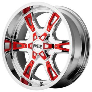 MOTO METAL WHEELS  MO969 CHROME RIM with RED and BLACK ACCENTS