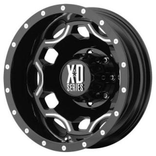 XD SERIES WHEELS  XD814 DUALLY CRUX GLOSS BLACK RIM with MILLED ACCENTS REAR