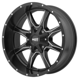 MOTO METAL WHEELS  MO970 SATIN BLACK RIM with MILLED SPOKES