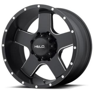 HELO WHEELS  HE886 SATIN BLACK RIM with MILLED ACCENTS