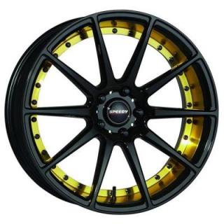 SPEEDY WHEELS  TRACK GLOSS BLACK RIM with GOLD ACCENTS