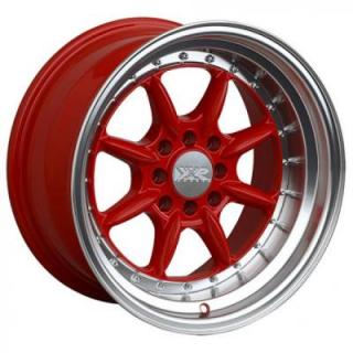 XXR WHEELS  002.5 RED RIM with MACHINED LIP