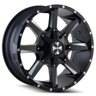 CALI OFF-ROAD WHEELS  BUSTED 9100 SATIN BLACK RIM with MILLED SPOKES