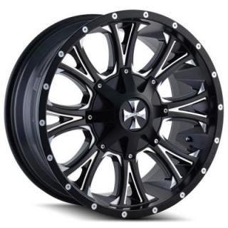 CALI OFF-ROAD WHEELS  AMERICANA 9101 SATIN BLACK RIM with MILLED SPOKES