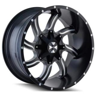 CALI OFF-ROAD WHEELS  TWISTED 9102 SATIN BLACK RIM with MILLED SPOKES