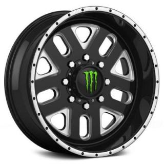 SPECIAL BUY WHEELS  DROPSTARS MONSTER ENERGY 539BM BLACK RIM with MILLED ACCENTS