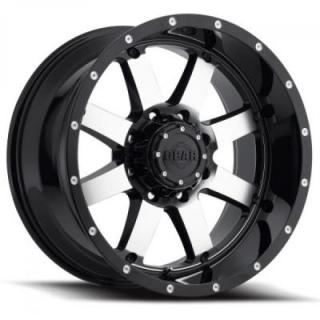 SPECIAL BUY WHEELS  GEAR ALLOY 726M BIG BLOCK BLACK RIM with MACHINED FACE