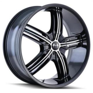 MAZZI WHEELS  GALAXY 365 BLACK RIM with MACHINED FACE