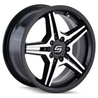 SACCHI WHEELS  S73 BLACK RIM with MACHINED FACE