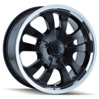 DIP WHEELS  AVENGER D10 BLACK RIM with MACHINED LIP