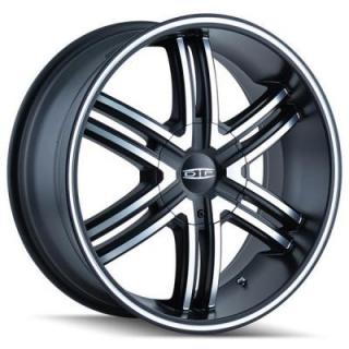 DIP WHEELS  HACK D98 MATTE BLACK RIM with MACHINED FACE and RING