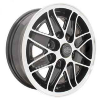 EMPI VINTAGE VW  COSMO GLOSS BLACK RIM with POLISHED LIP and SPOKE EDGES