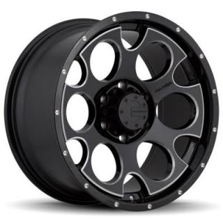 MAMBA OFFROAD WHEELS   M17 GLOSS BLACK RIM with MACHINED ACCENTS and DRILL HOLES