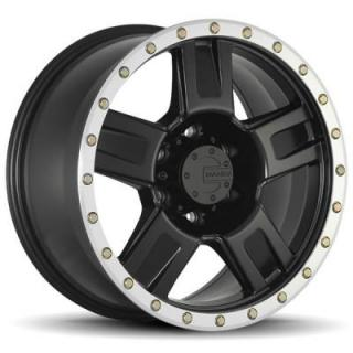 M18 MATTE BLACK RIM with MACHINED BEAD LIP and BOLTS by MAMBA OFFROAD WHEELS