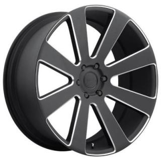 DUB WHEELS  8-BALL S187 SATIN BLACK RIM with MILLED ACCENTS