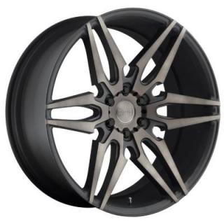 DUB WHEELS  ATTACK-6 S211 BLACK RIM with MACHINED FACE DDT
