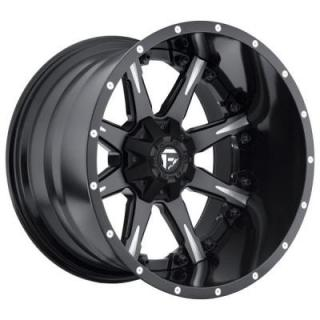 FUEL TWO-PIECE SERIES  NUTZ D251 MATTE and GLOSS BLACK RIM with MILLED ACCENTS