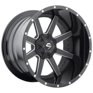 FUEL TWO-PIECE SERIES  MAVERICK D262 MATTE and GLOSS BLACK RIM with MILLED ACCENTS