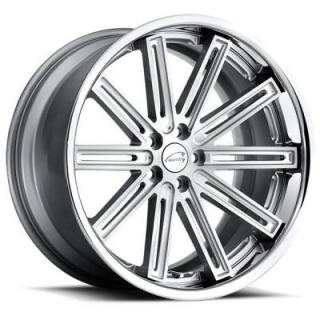COVENTRY WHEELS   WARWICK SILVER RIM with BRUSHED FACE and CHROME STAINLESS LIP