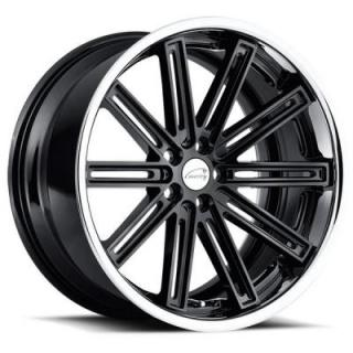 COVENTRY WHEELS   WARWICK GLOSS BLACK RIM with BRUSHED FACE and CHROME STAINLESS LIP