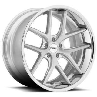 PORTIER SILVER RIM with BRUSHED FACE and CHROME STAINLESS LIP by TSW WHEELS