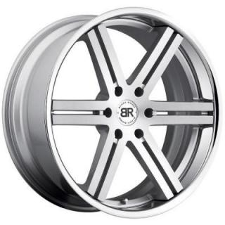 SPECIAL BUY WHEELS  BLACK RHINO LETABA SILVER RIM with BRUSHED FACE and CHROME STAINLESS LIP