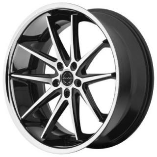ASANTI WHEELS  ABL-5 BLACK RIM with MACHINED FACE and SS LIP