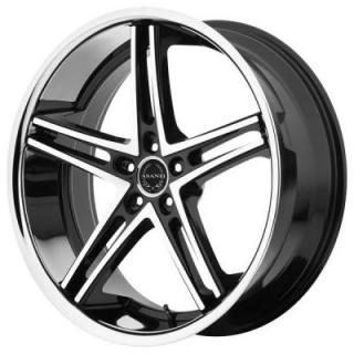 ABL-7 BLACK RIM with MACHINED FACE and SS LIP by ASANTI WHEELS