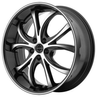 ABL-8 BLACK RIM with MACHINED FACE and BLACK LIP by ASANTI WHEELS