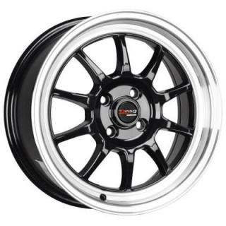 DR16 GLOSS BLACK RIM with MACHINED LIP by DRAG WHEELS