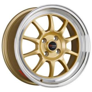 DRAG WHEELS  DR16 GOLD RIM with MACHINED LIP
