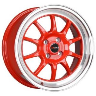 DR16 RED RIM with MACHINED LIP by DRAG WHEELS