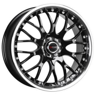DRAG WHEELS  DR19 GLOSS BLACK RIM with MACHINED LIP