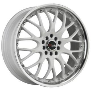 DRAG WHEELS  DR19 WHITE RIM with MACHINED LIP