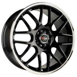 DRAG WHEELS  DR34 GLOSS BLACK RIM with MACHINED LIP