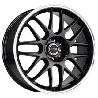DRAG WHEELS  DR37 GLOSS BLACK RIM with MACHINED LIP