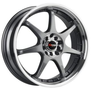 DRAG WHEELS  DR51 GUNMETAL RIM with MACHINED LIP