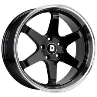 DRAG WHEELS  DR53 GLOSS BLACK RIM with MACHINED LIP