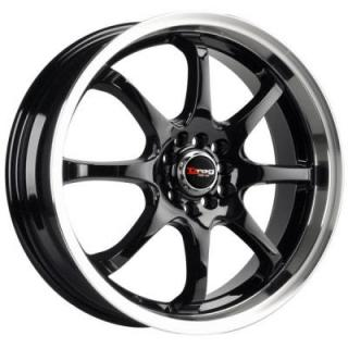 DRAG WHEELS  DR55 GLOSS BLACK RIM with MACHINED LIP